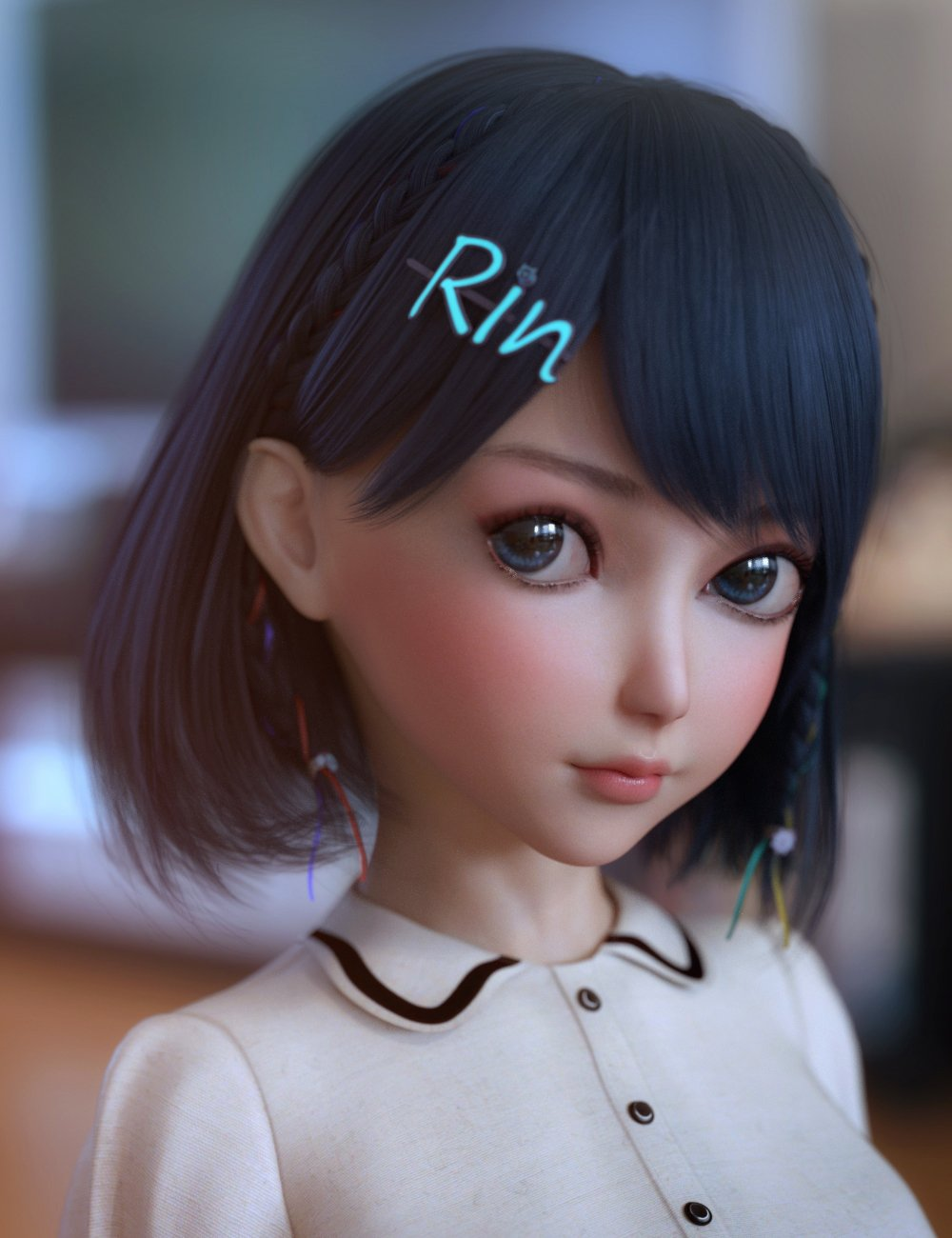 Rin Hair for Genesis 8 Females by: Crocodile Liu, 3D Models by Daz 3D