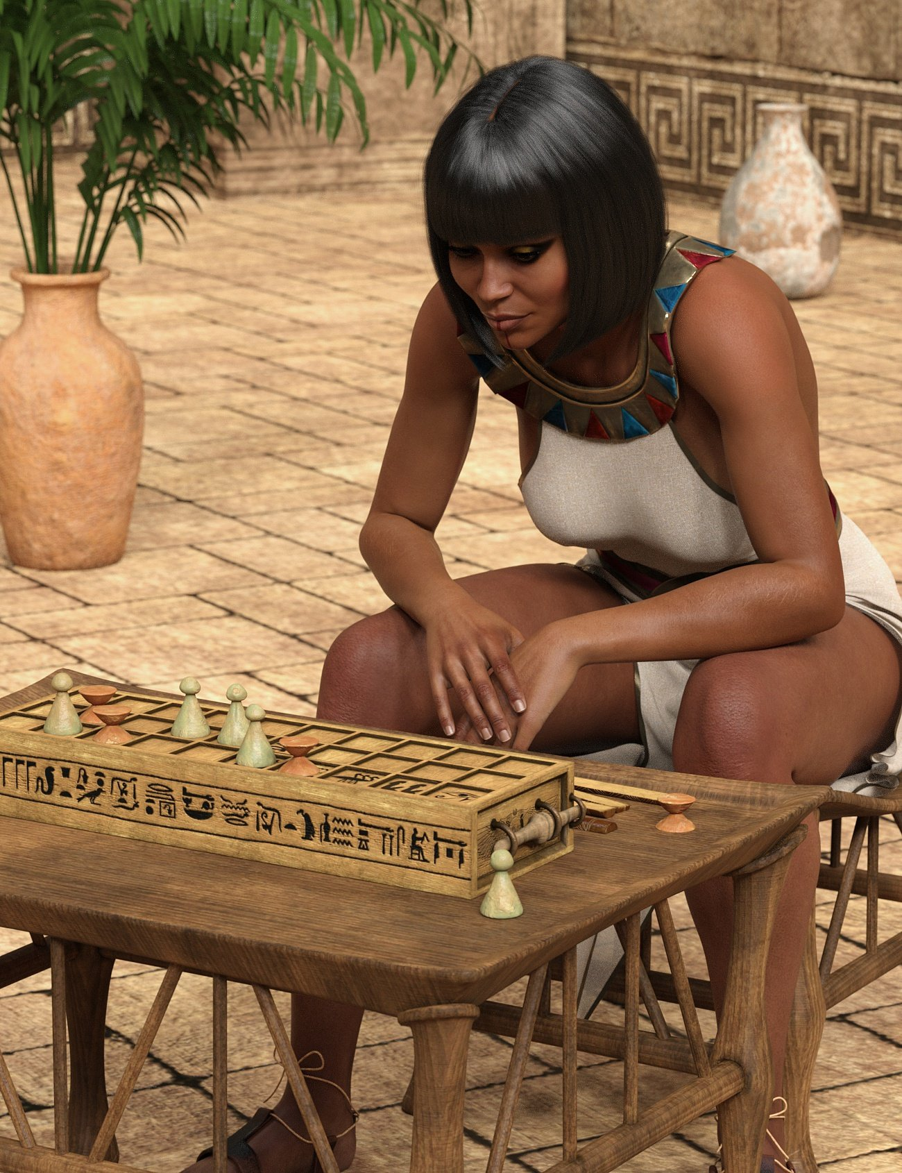 Egyptian Senet Game and Poses for Genesis 8 by: 3D-GHDesign, 3D Models by Daz 3D