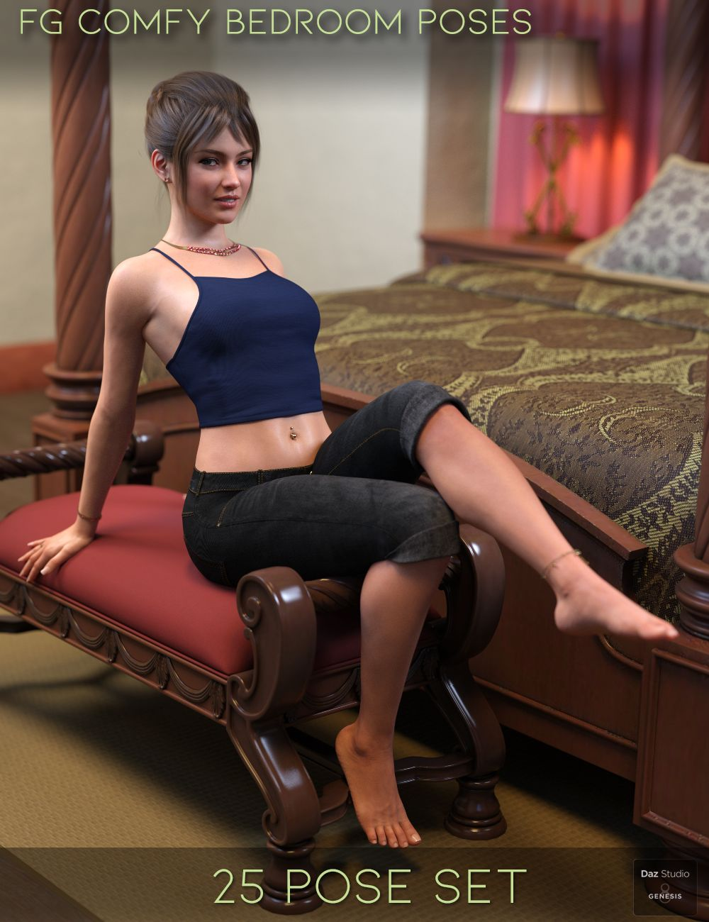 FG Comfy Bedroom Poses for Genesis 8 by: Paper TigerIronman, 3D Models by Daz 3D