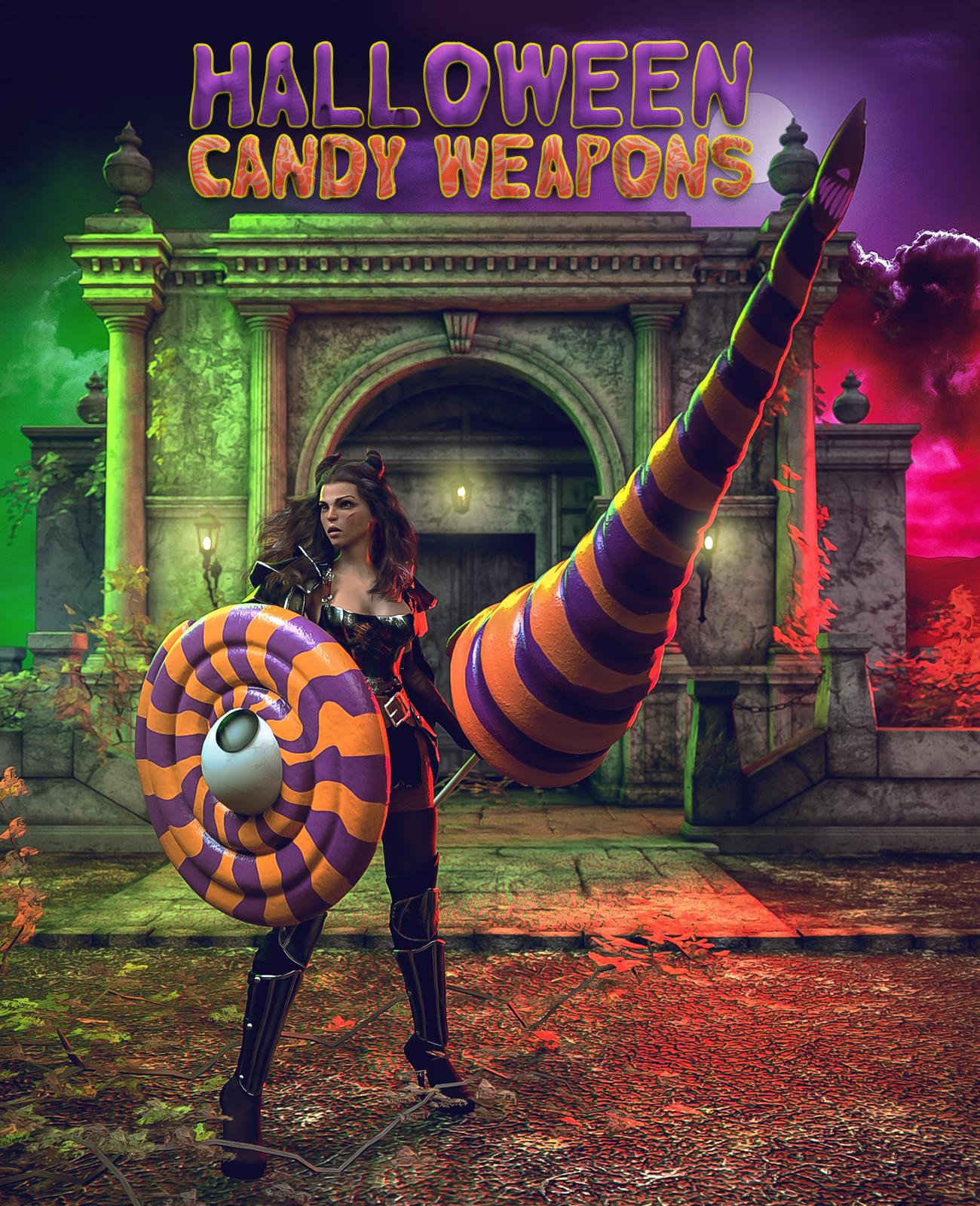 Halloween Candy Weapons for Genesis 8 by: EsidFenixPhoenix, 3D Models by Daz 3D