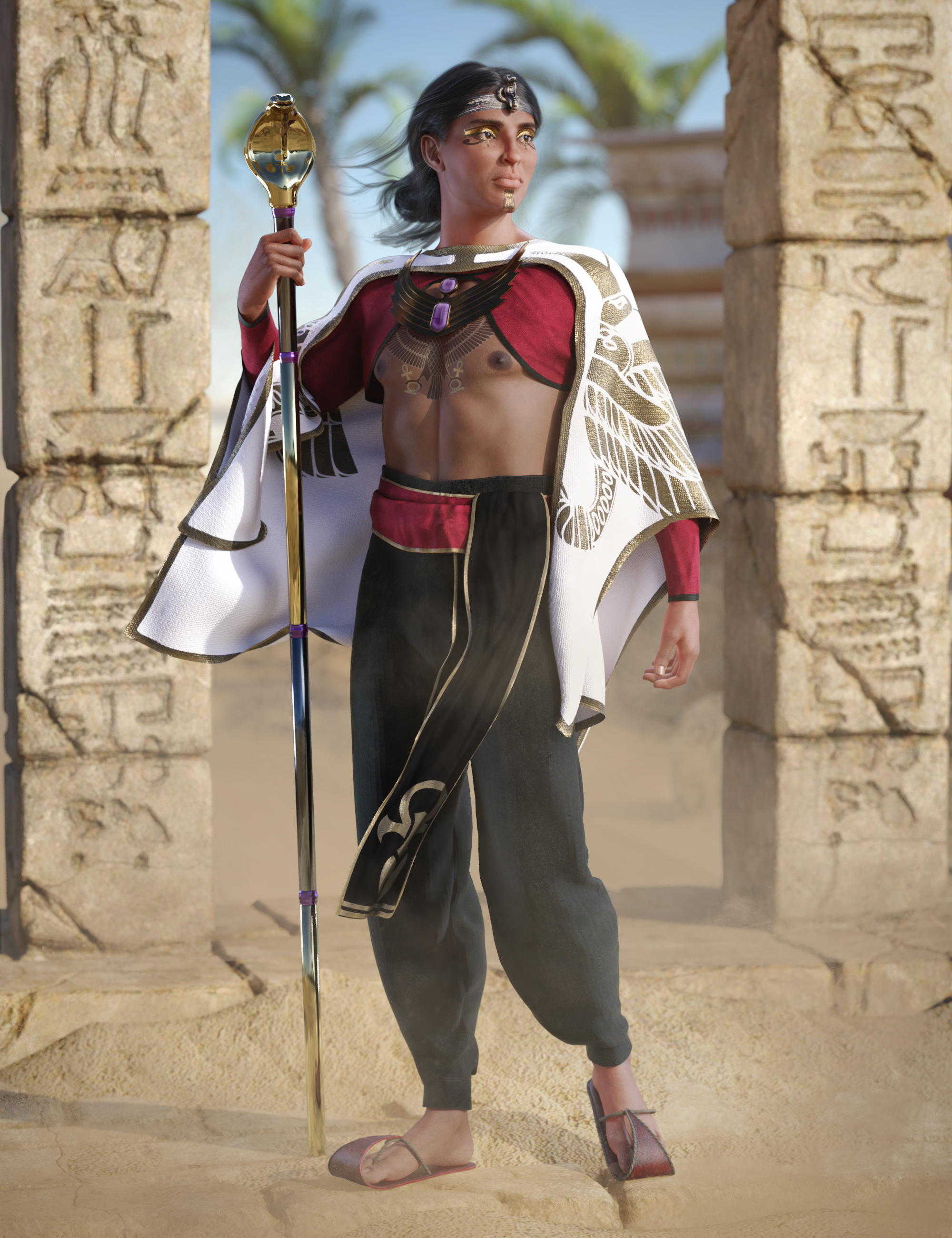 dForce Curse of Kings Outfit for Genesis 8 Males by: Barbara BrundonMoonscape GraphicsUmblefugly, 3D Models by Daz 3D