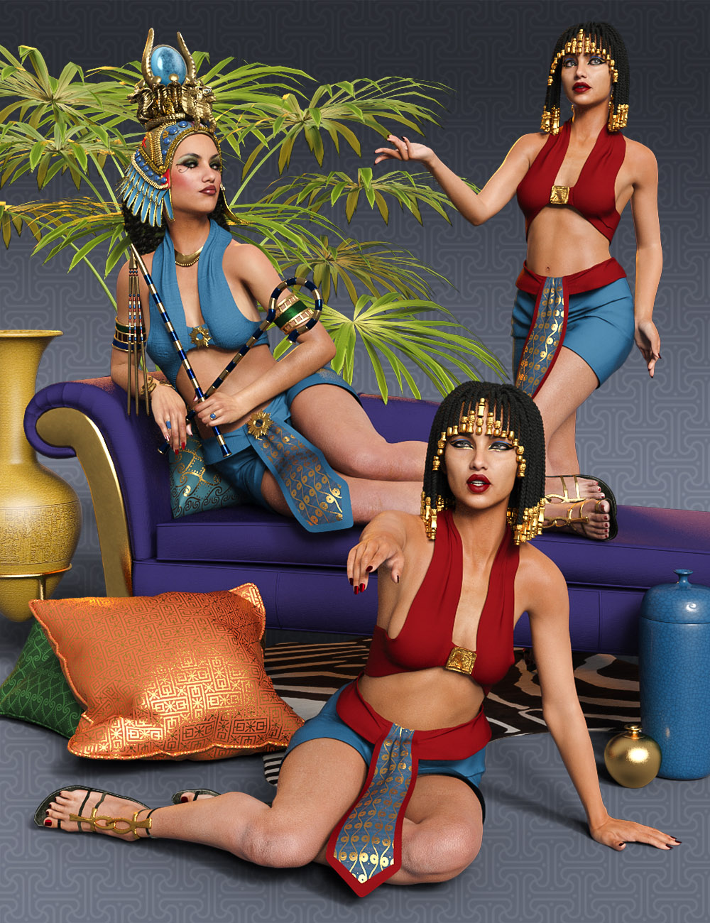 Poses of Egypt for Genesis 8 Female by: CG BossZai by Design, 3D Models by Daz 3D