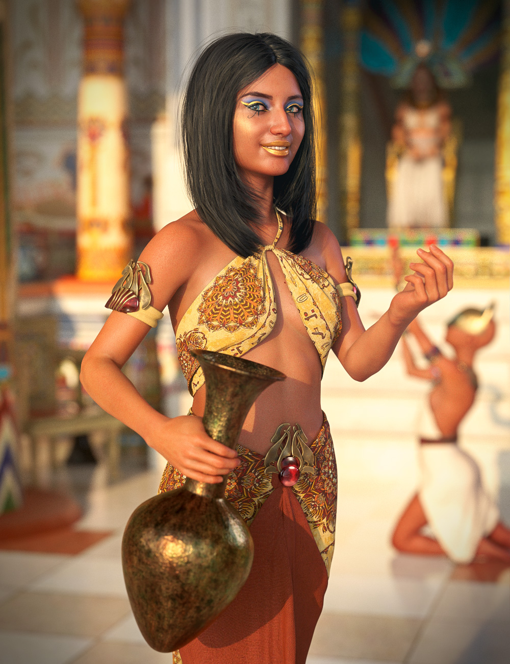 Khemsit 8 Ancient Egyptian Handmaiden Bundle by: , 3D Models by Daz 3D