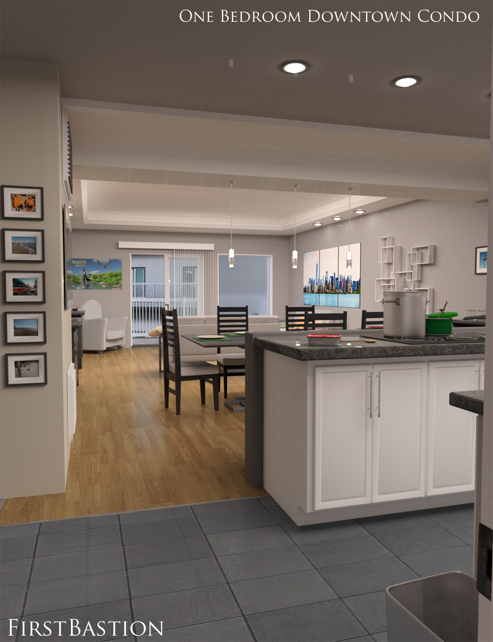 1stb One Bedroom Downtown Condo Apartment Daz 3d