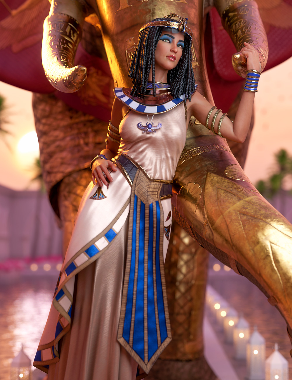 dForce Queen of Egypt Outfit for Genesis 8 Females by: Barbara Brundon, 3D Models by Daz 3D