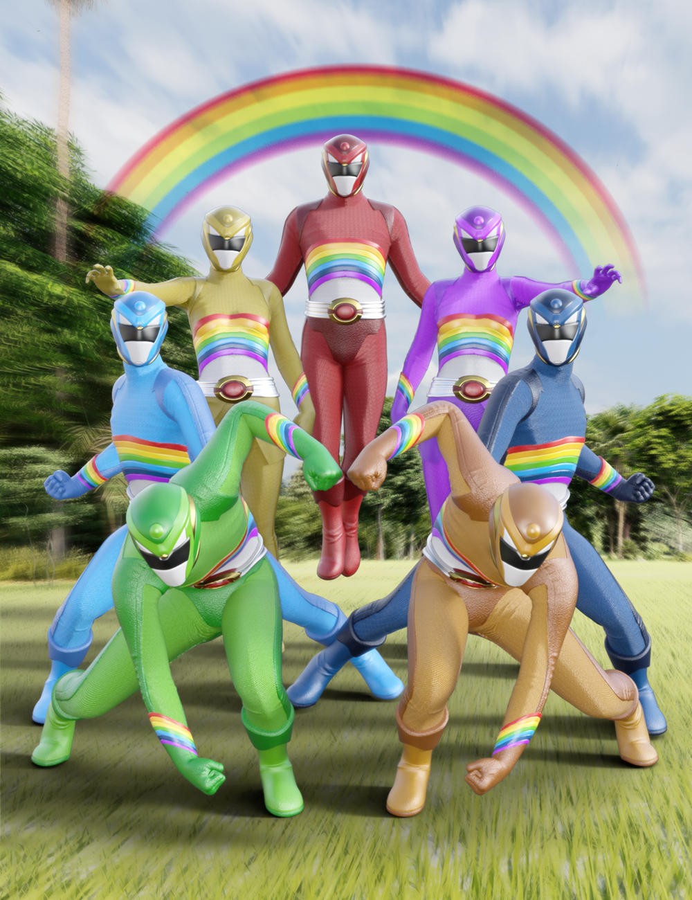 Rainbow Ranger Outfit for Genesis 8 and 8.1 by: Jerry Jang, 3D Models by Daz 3D