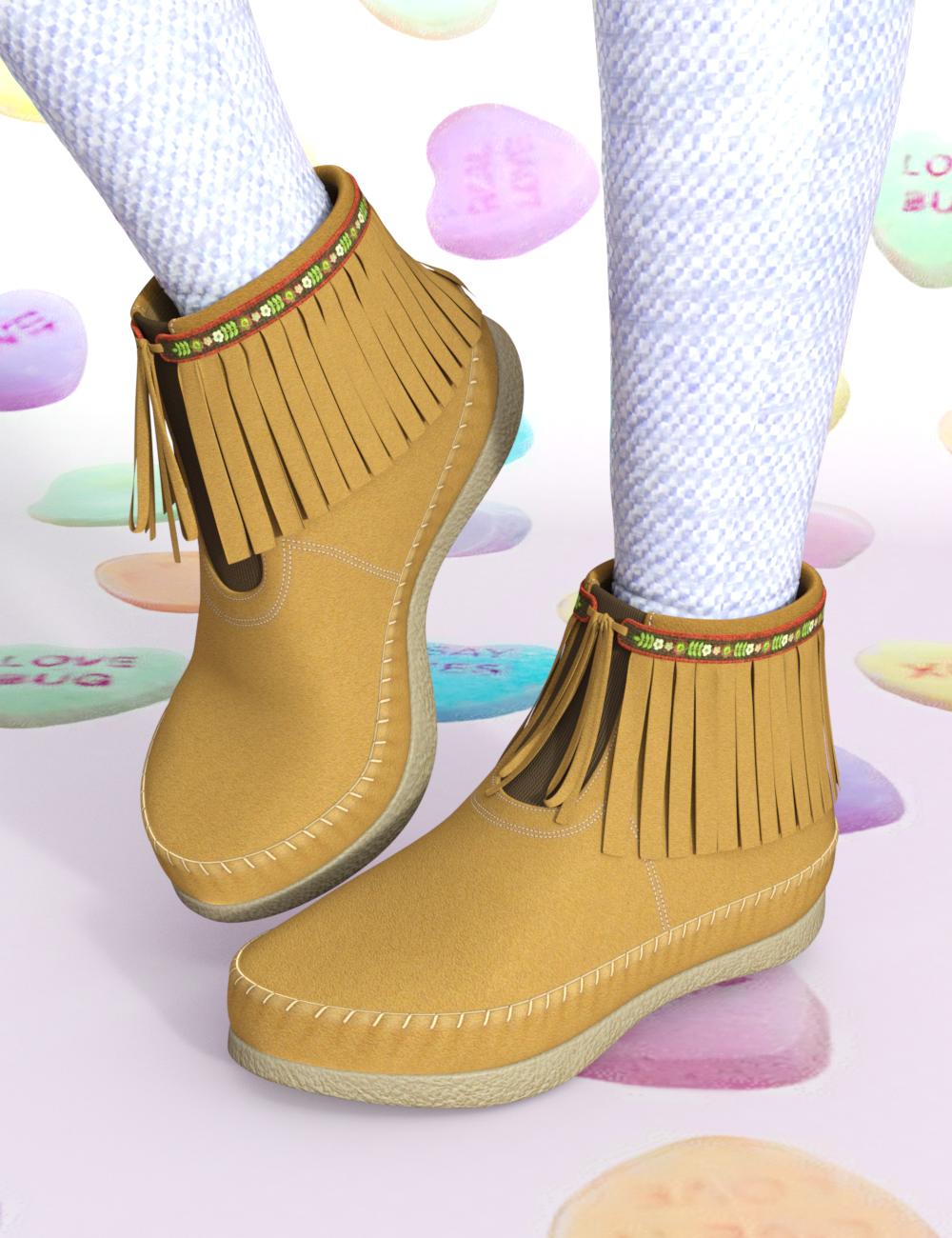 SweeTs Fringe Short Boots for Genesis Females by: elleque, 3D Models by Daz 3D