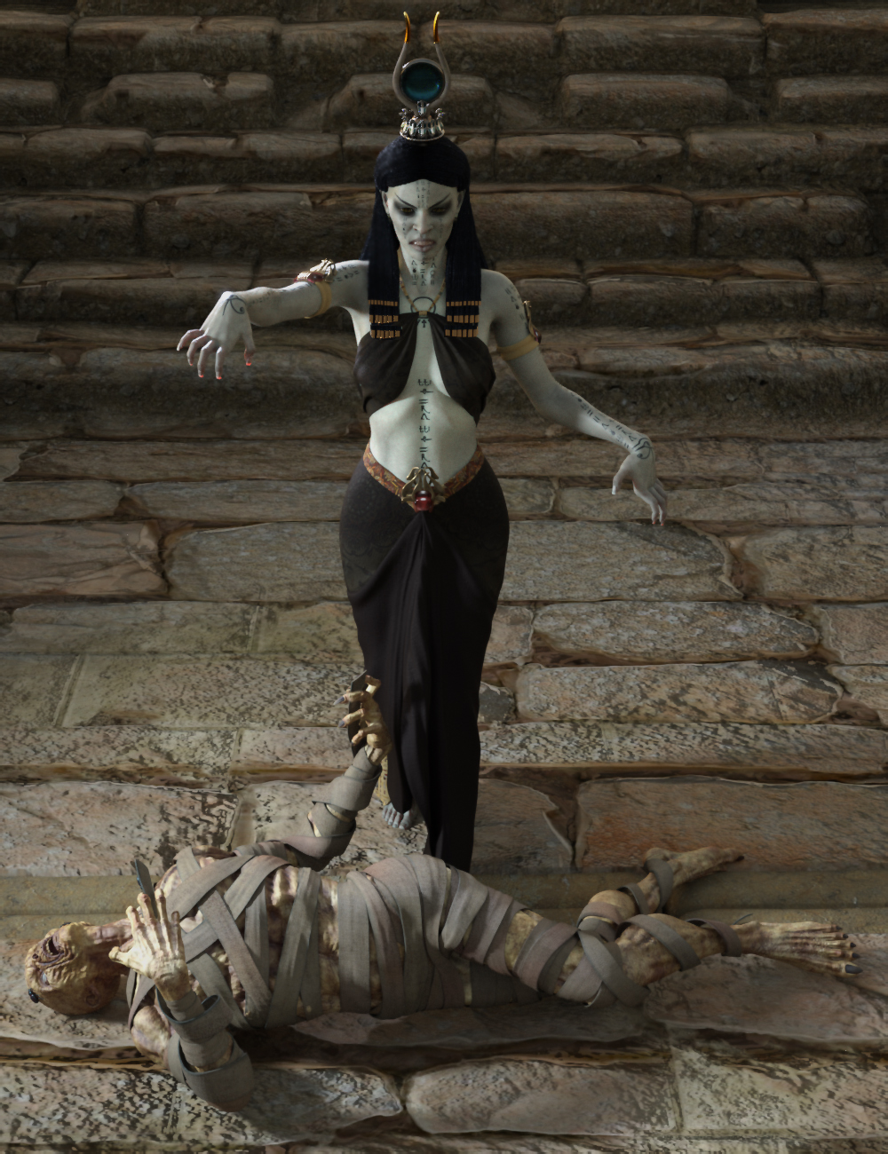 Dark Pharaoh Poses for Genesis 8 Female by: Ensary, 3D Models by Daz 3D
