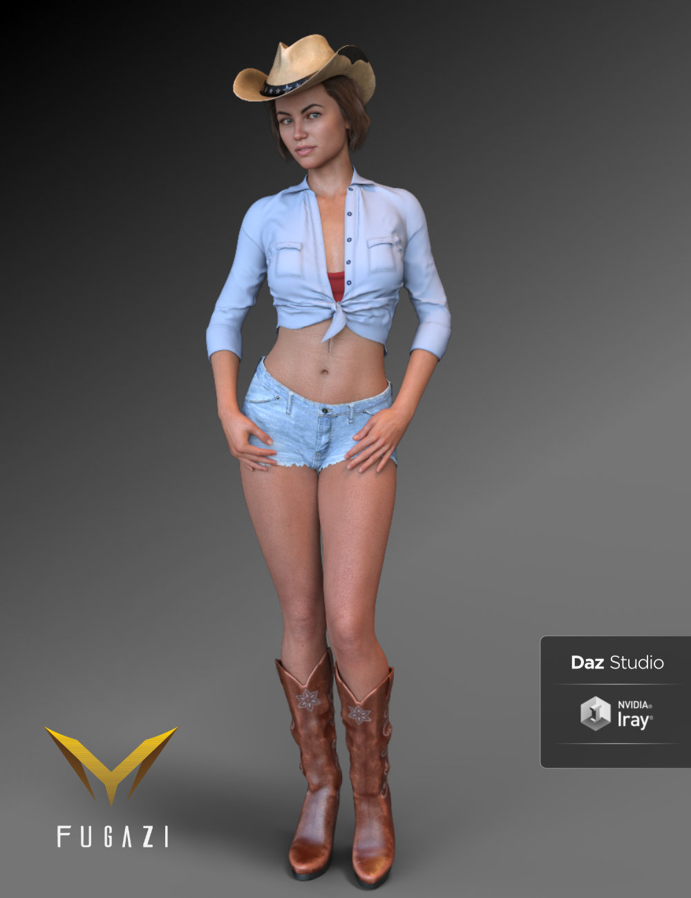 FG Cowgirl Outfit for Genesis 8 Females by: Fugazi1968Ironman, 3D Models by Daz 3D