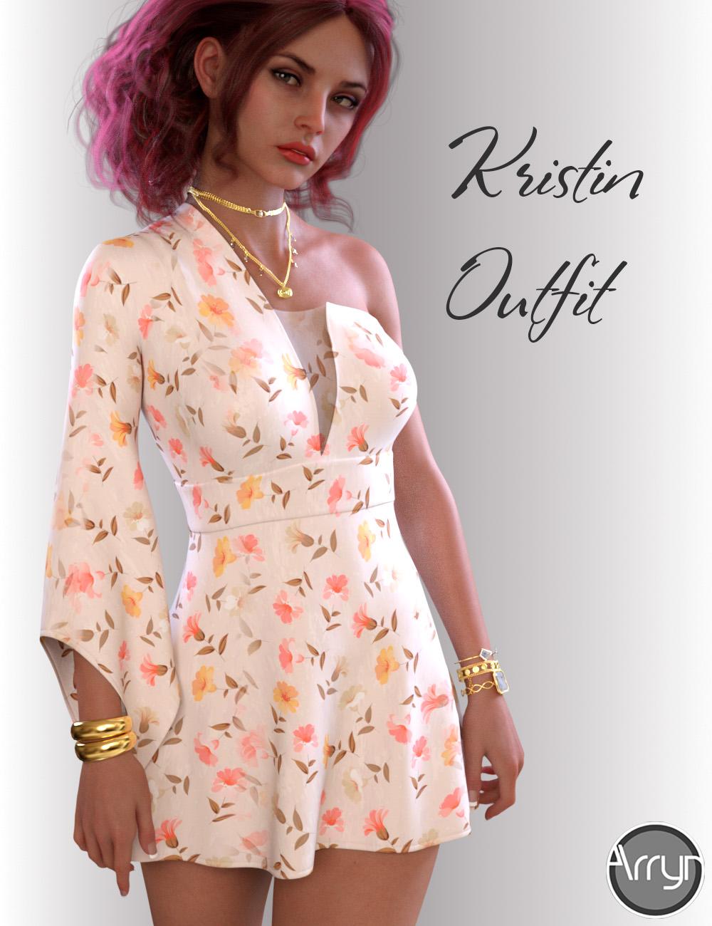dForce Kristin Dress for Genesis 8 Females by: OnnelArryn, 3D Models by Daz 3D