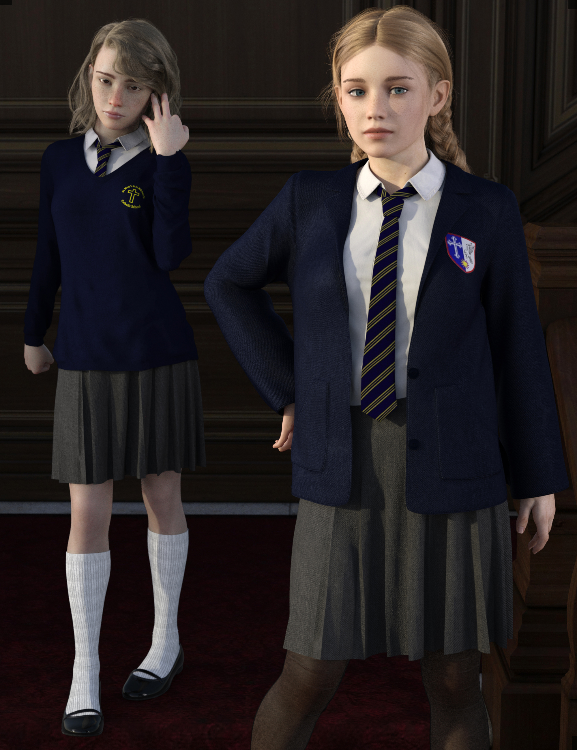 dForce Time For School for Genesis 8 Females by: Dogz, 3D Models by Daz 3D