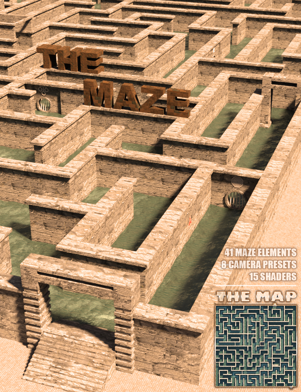 The Maze - Huge Labyrinth for Daz Studio by: Aedilium, 3D Models by Daz 3D