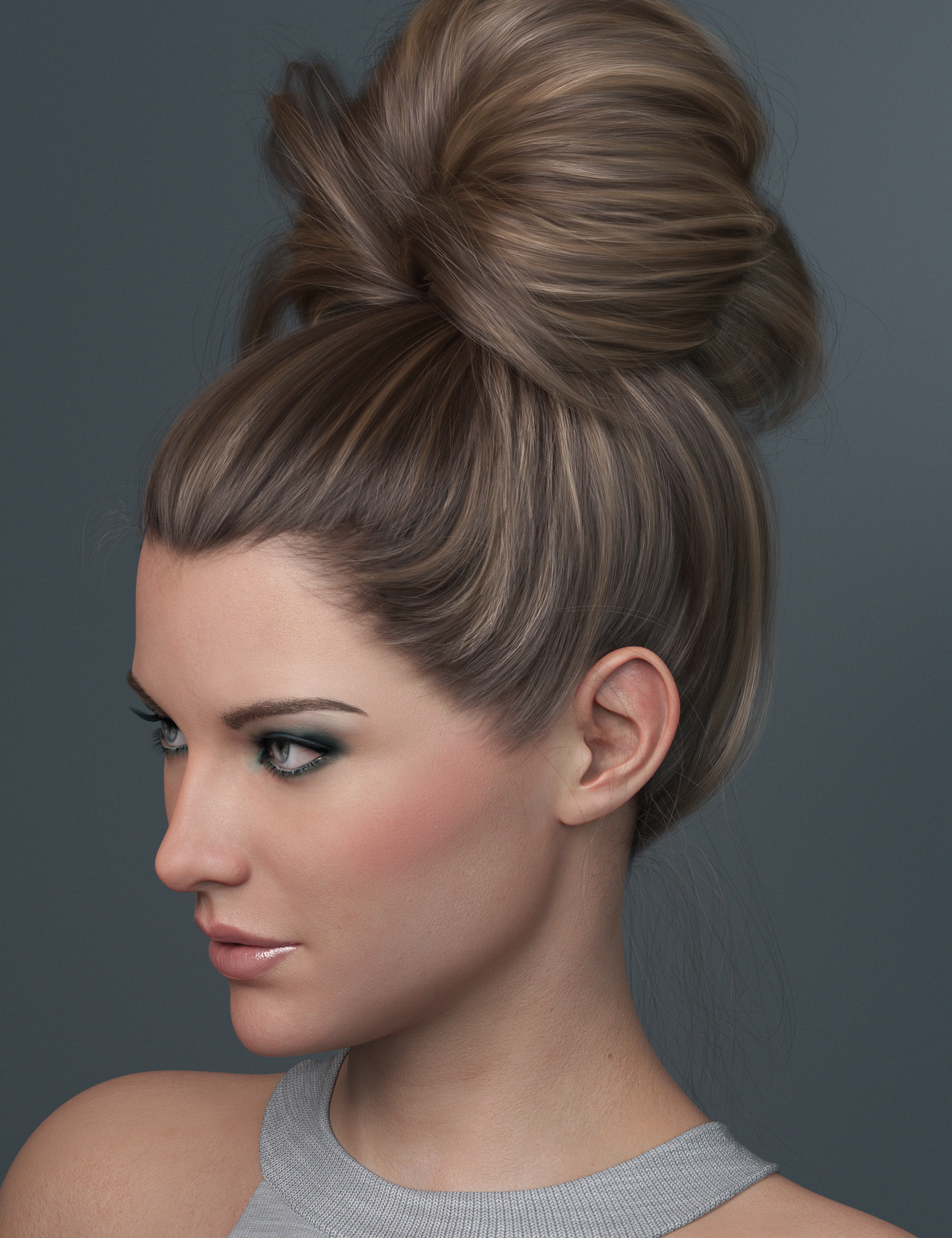 Top Updo for Genesis 3, 8, and 8.1 Females by: outoftouch, 3D Models by Daz 3D