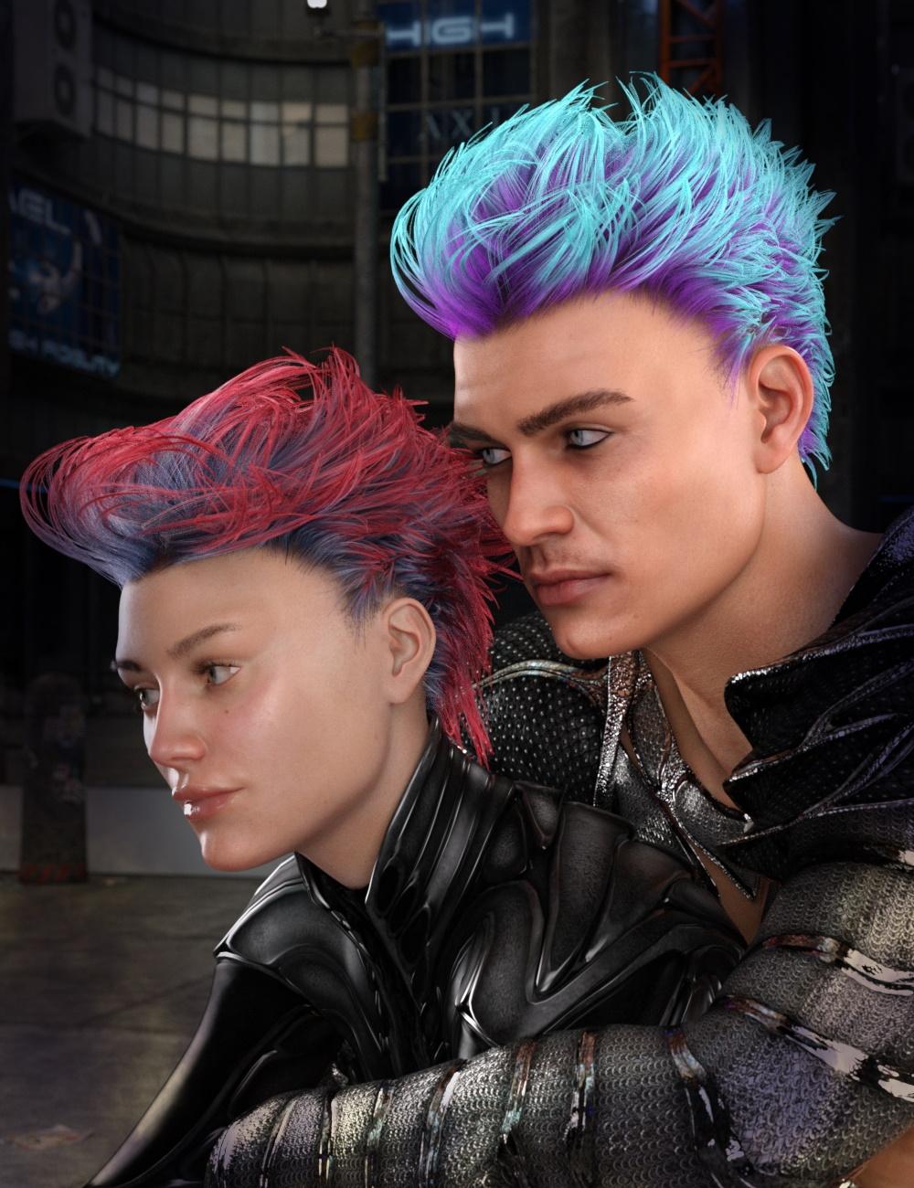 dForce Electro Hair for Genesis 3 and 8