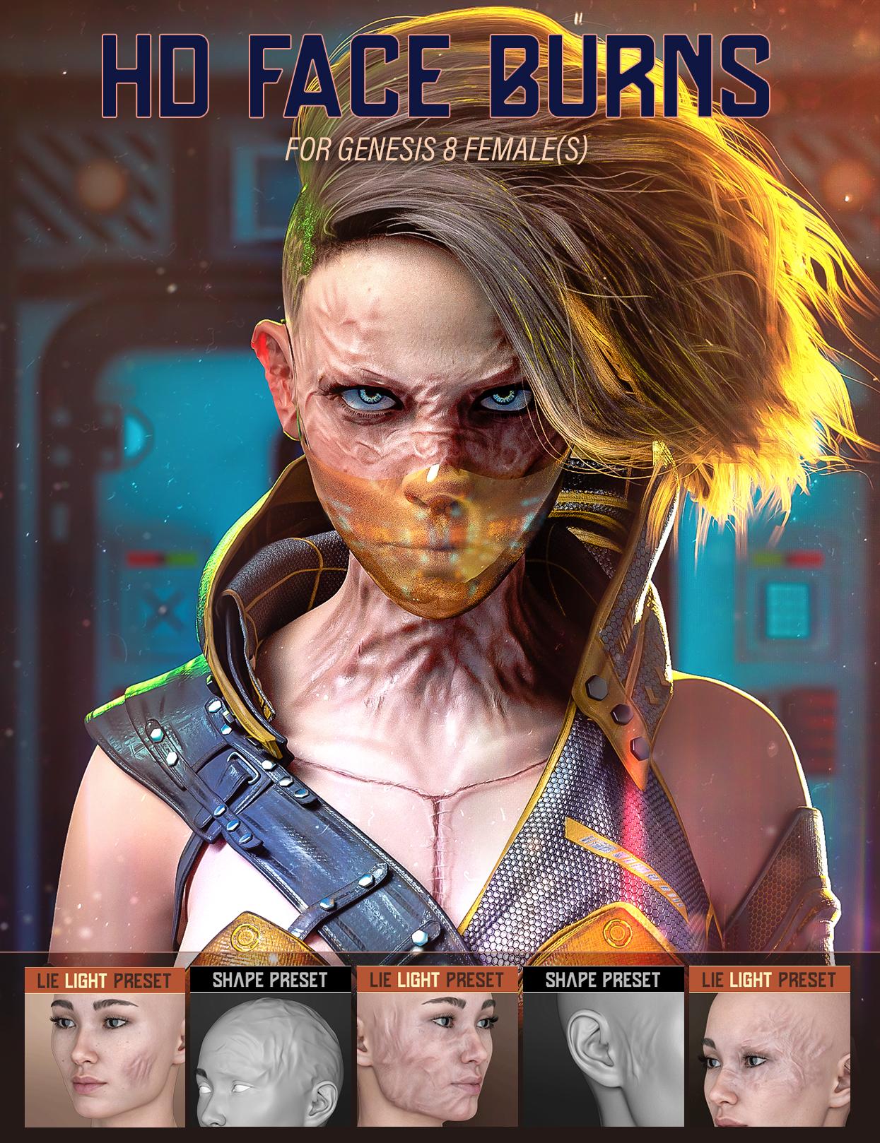 HD Face Burns for Genesis 8 Females by: FenixPhoenixEsid, 3D Models by Daz 3D