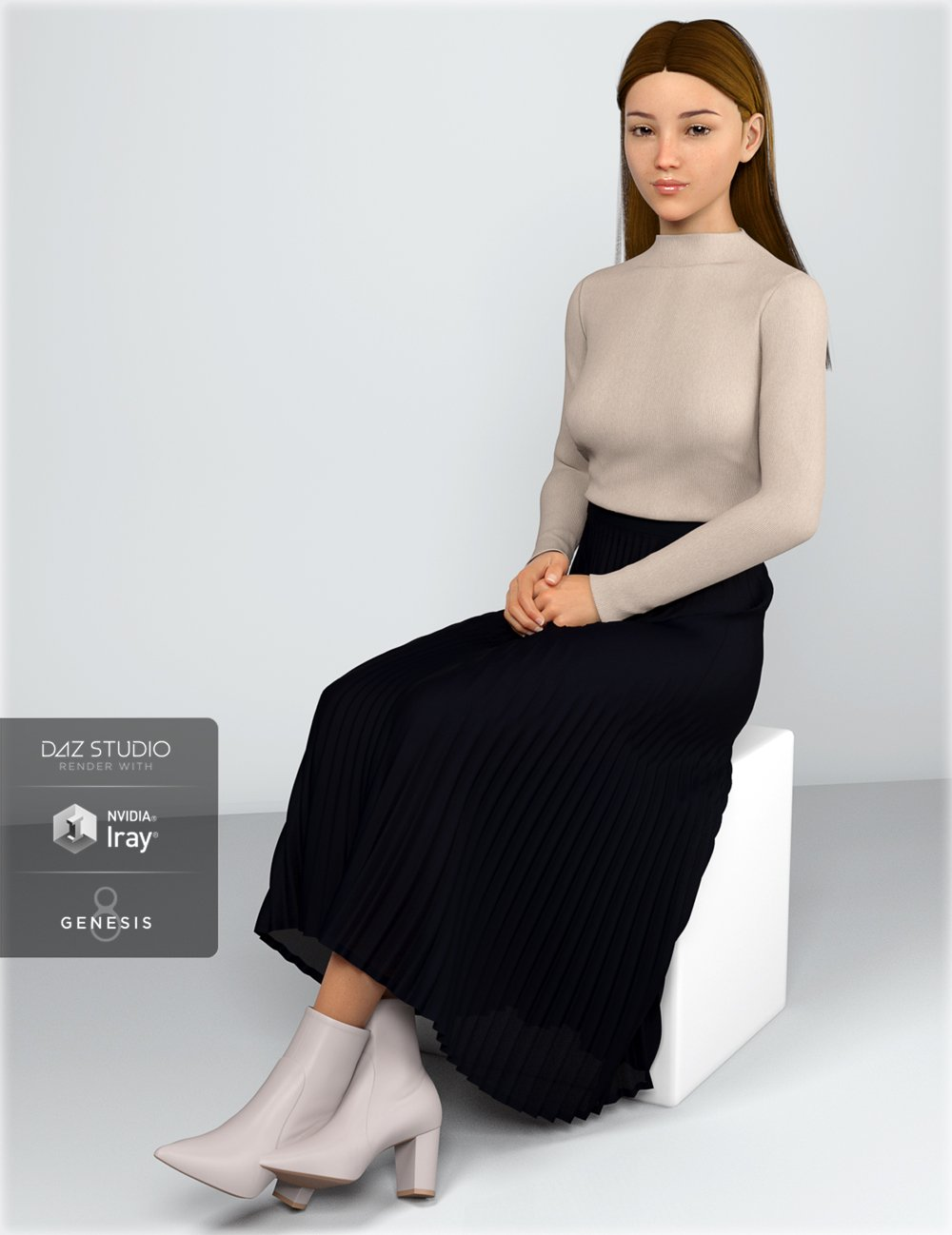 dForce HnC Pleated Skirt Outfit for Genesis 8 Females by: IH Kang, 3D Models by Daz 3D