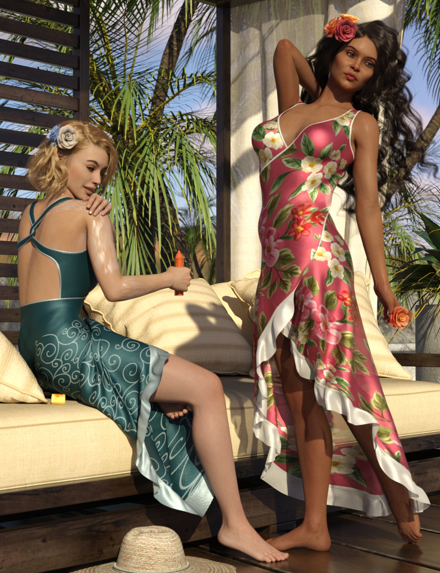 dForce Floral Fiesta Outfit for Genesis 8 Females by: 3D-GHDesign, 3D Models by Daz 3D