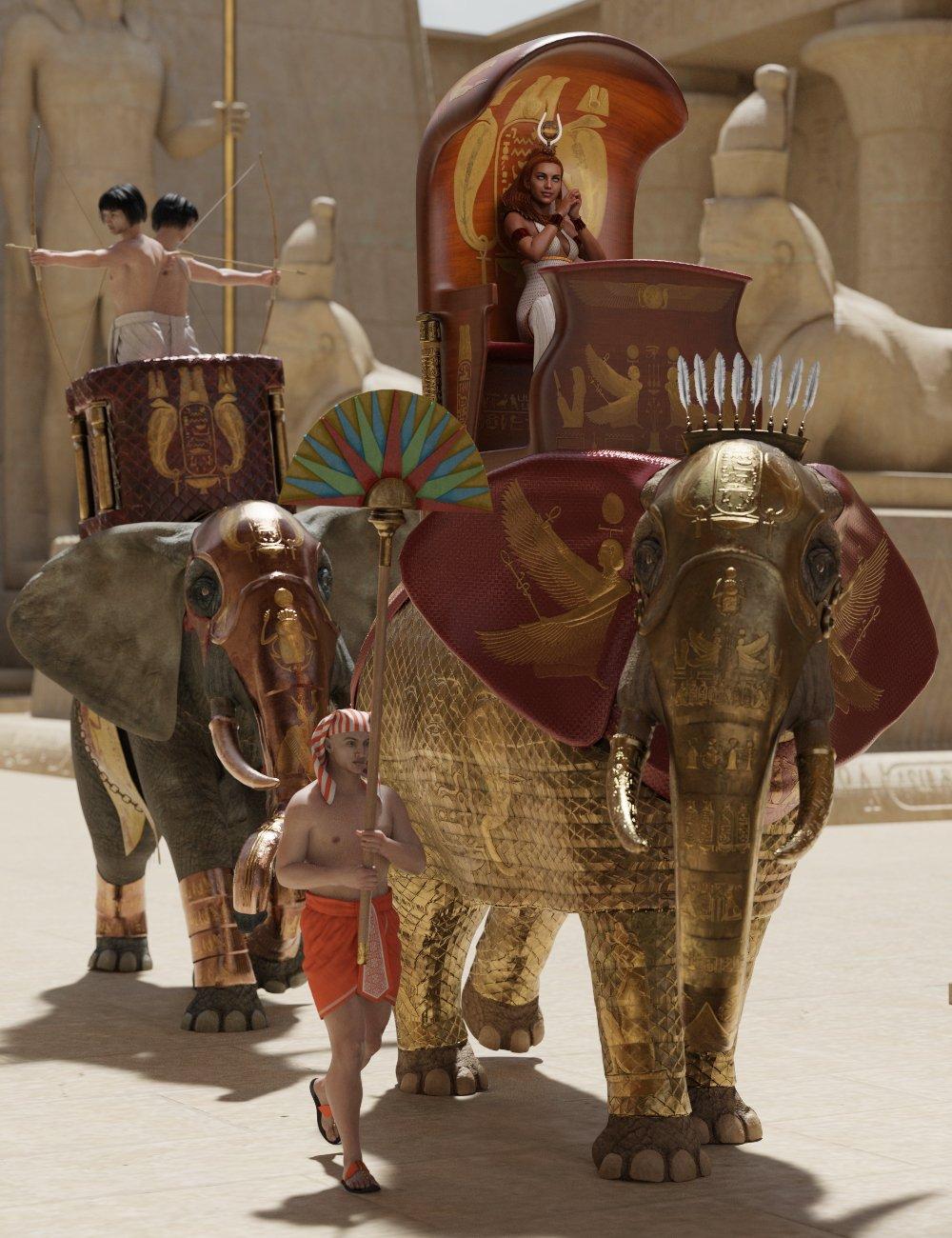 Egyptian Elephant Warrior for African Elephant by: Deepsea, 3D Models by Daz 3D