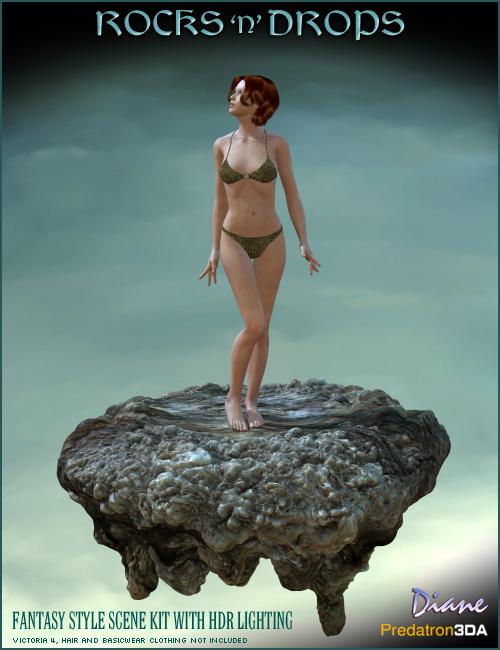 Rocks N Drops  Fantasy Scene Kit by: DianePredatron, 3D Models by Daz 3D