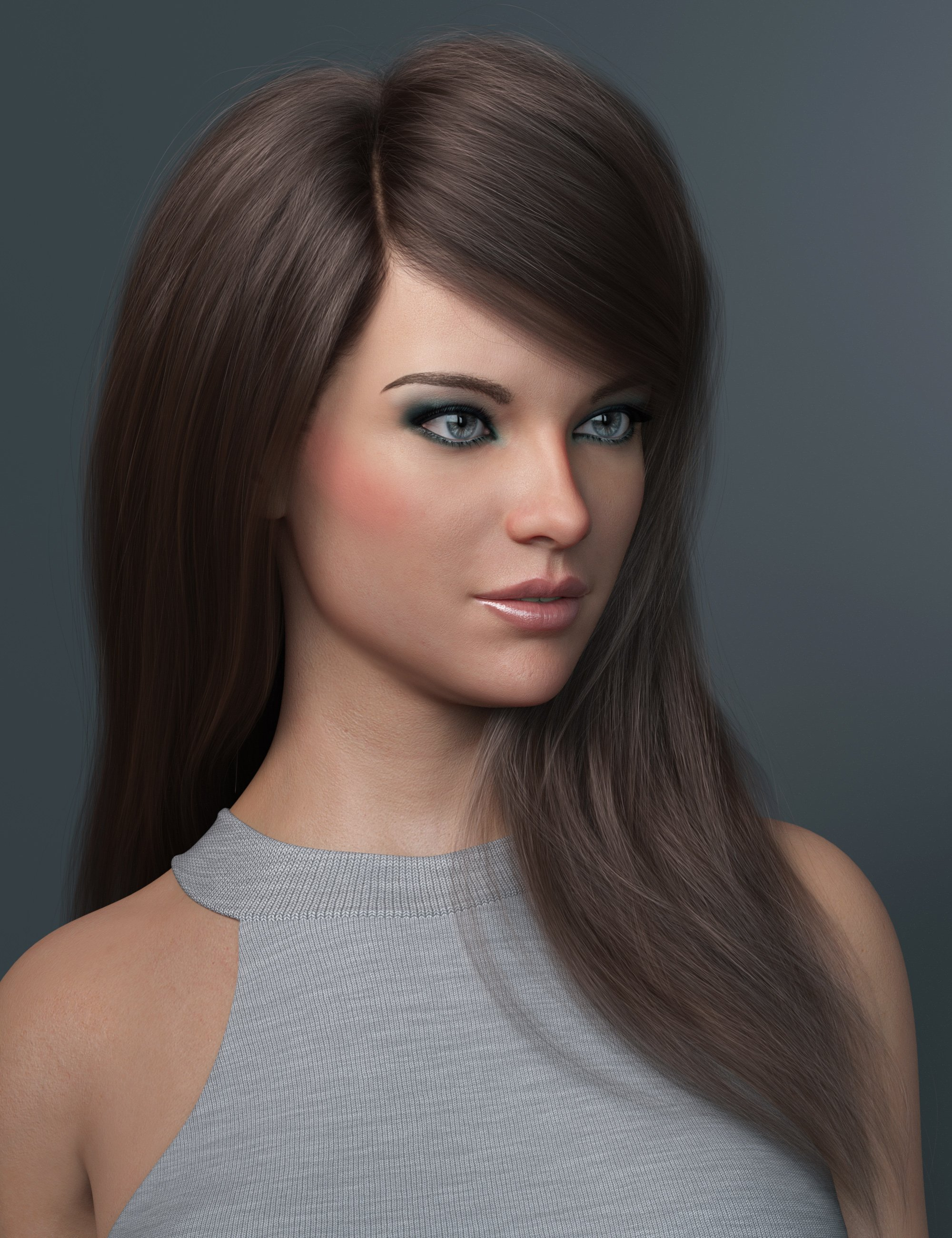 Swept Bangs Hair for Genesis 3 and 8 Females by: outoftouch, 3D Models by Daz 3D