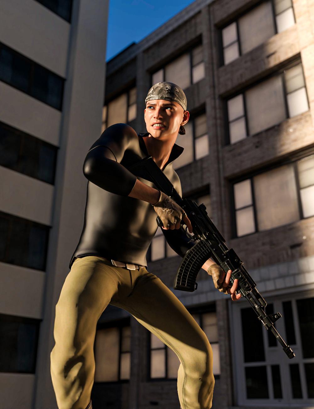 Black Snake Assault Rifle Pose for Genesis 8 by: mossberg, 3D Models by Daz 3D