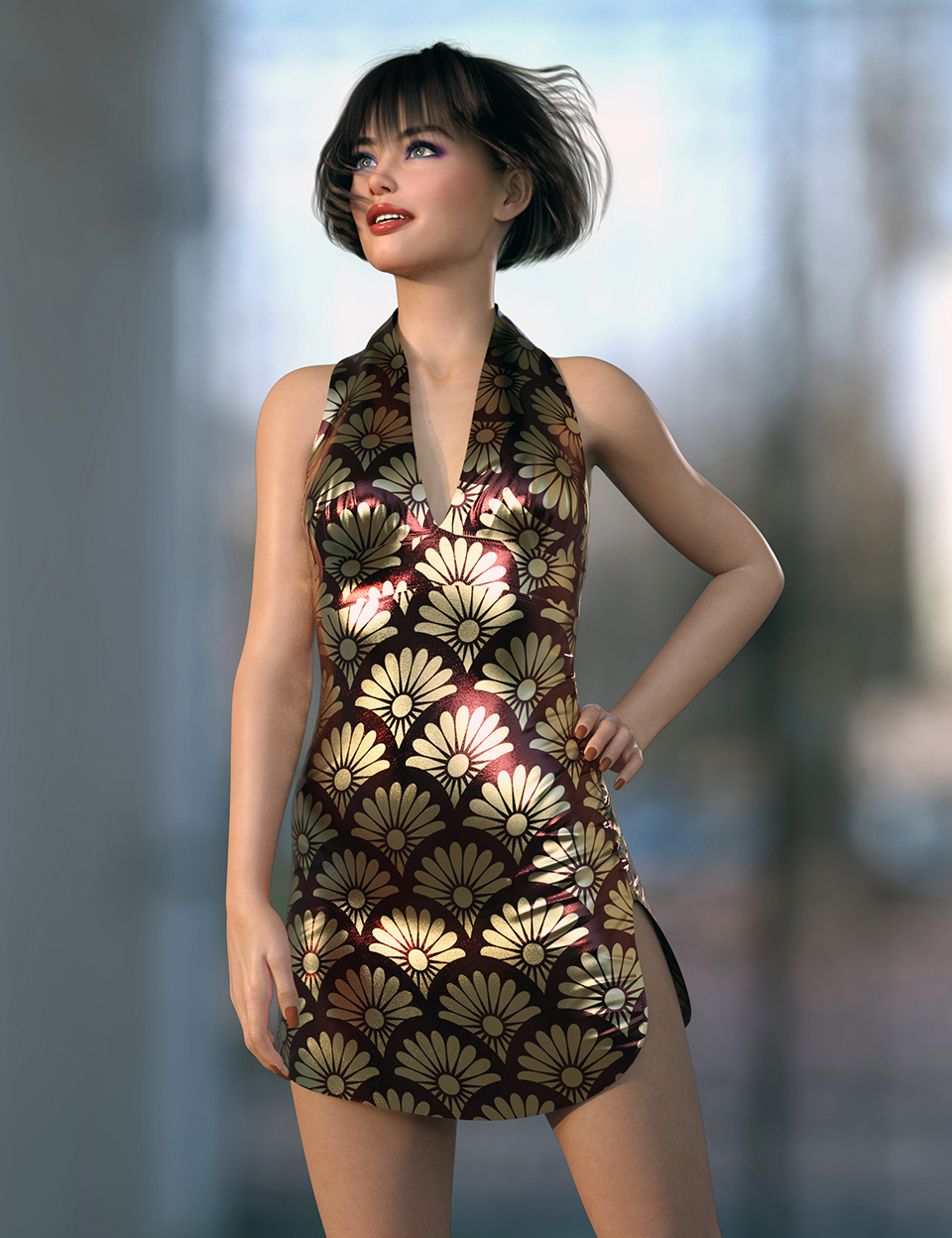 dForce Charlotte Club Dress for Genesis 8 Females by: Nelmi, 3D Models by Daz 3D