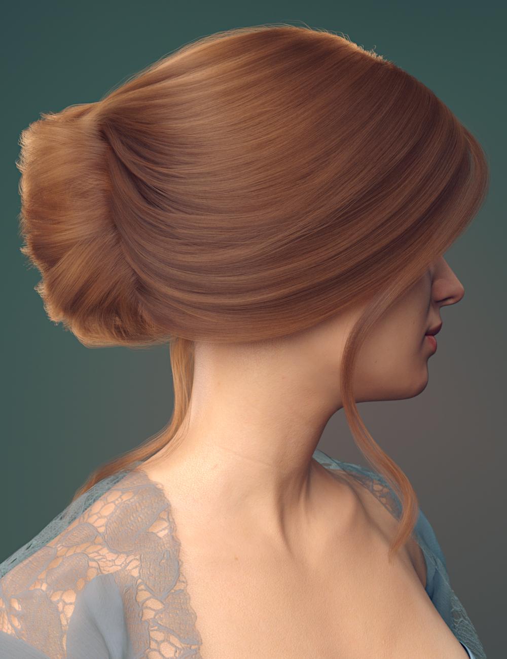 dForce French Twist Updo for Genesis 8 Females by: Toyen, 3D Models by Daz 3D