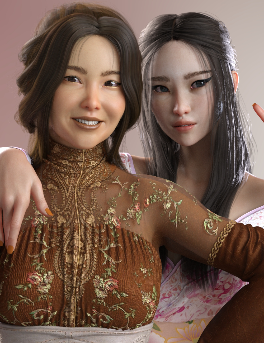 Lian and Hanako Zhao HD for Genesis 8 Female by: AnainAkasha, 3D Models by Daz 3D