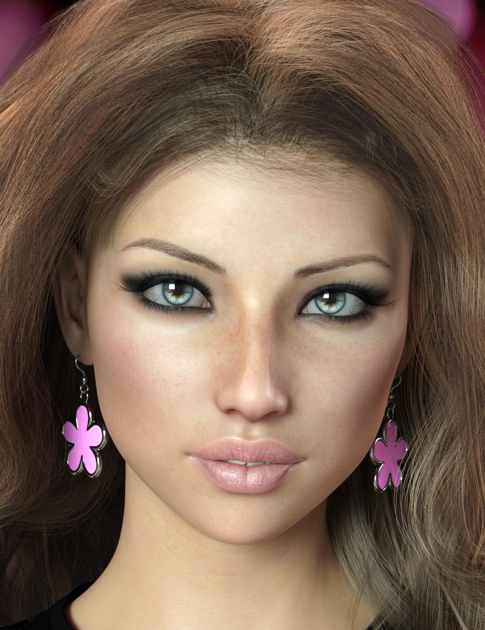 Flower Earrings for Genesis 8 Females by: esha, 3D Models by Daz 3D