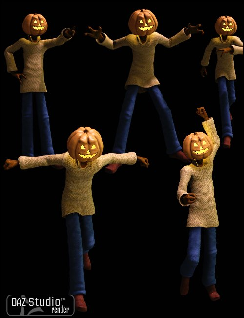 Jack Pumpkin Poses by: DigiportInfinityRain, 3D Models by Daz 3D