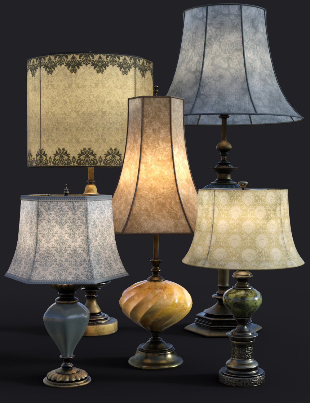 B.E.T.T.Y. Vintage Decor 03 Table Lamps by: B.E.T.T.Y, 3D Models by Daz 3D