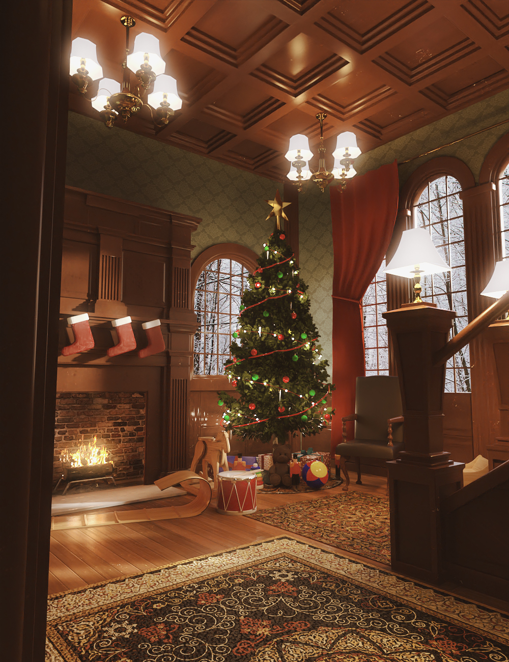 Christmas Room by: PerspectX, 3D Models by Daz 3D
