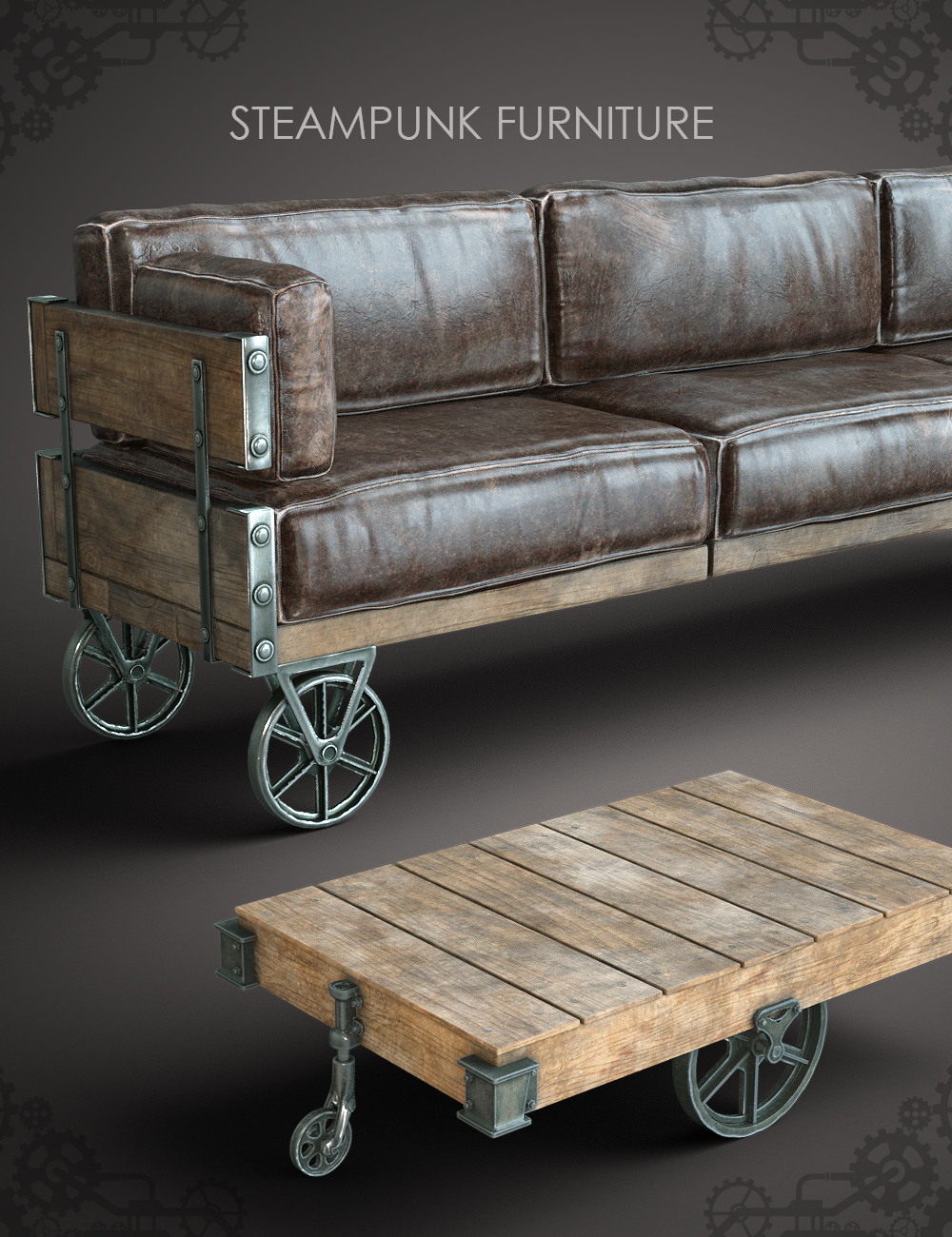 Steampunk Furniture by: fjaa3d, 3D Models by Daz 3D
