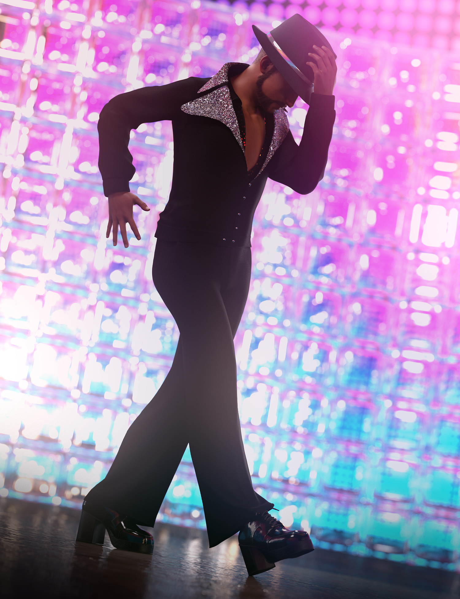 dForce Disco Boogie Outfit for Genesis 8 Males by: Barbara Brundon3D-GHDesignSade, 3D Models by Daz 3D