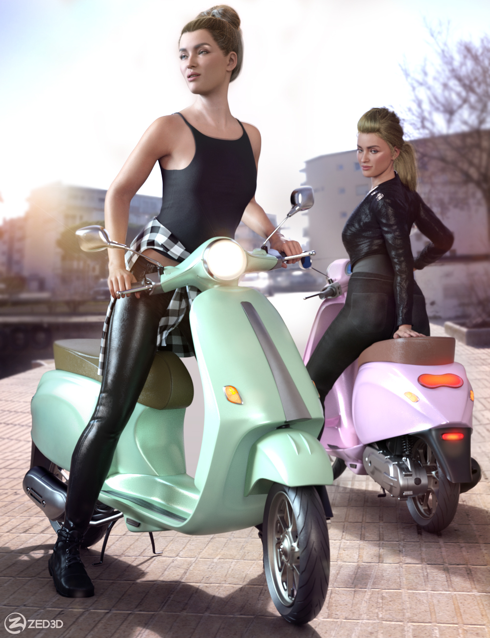 Z Belina Bike and Poses for Genesis 8.1 Female and Victoria 8.1 by: Zeddicuss, 3D Models by Daz 3D