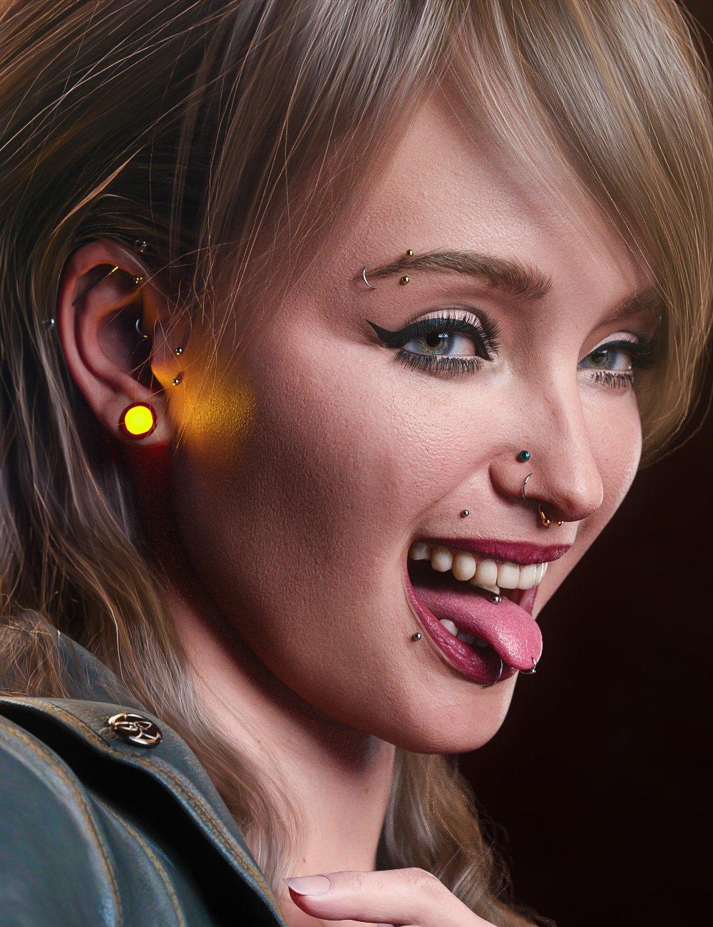 Vario Piercings for Genesis 8.1 Female by: Arki, 3D Models by Daz 3D