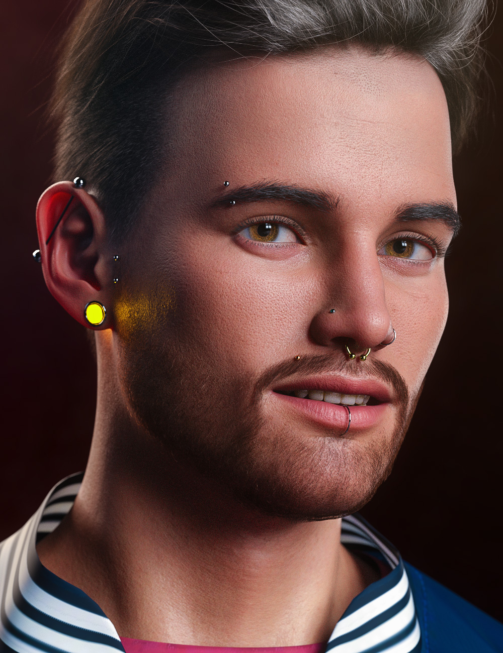 Vario Piercing for Genesis 8.1 Male by: Arki, 3D Models by Daz 3D