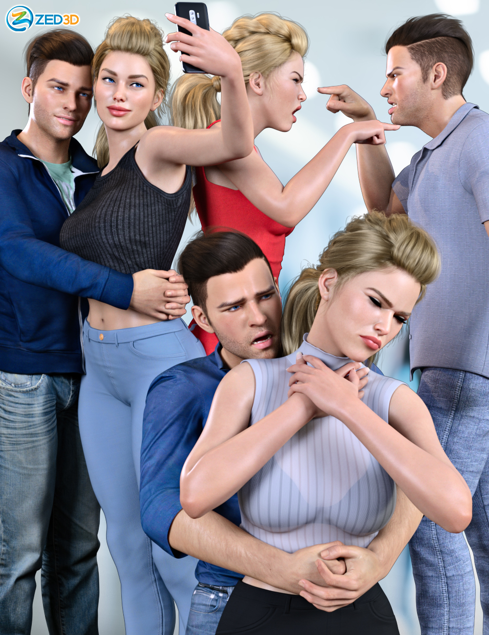 Z Everyday Couple Poses for Genesis 8 and 8.1 by: Zeddicuss, 3D Models by Daz 3D