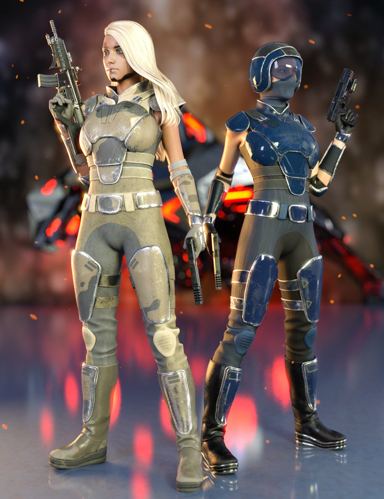 Sci-Fi Rebel Soldier Outfit for Genesis 8 Females by: Yura, 3D Models by Daz 3D