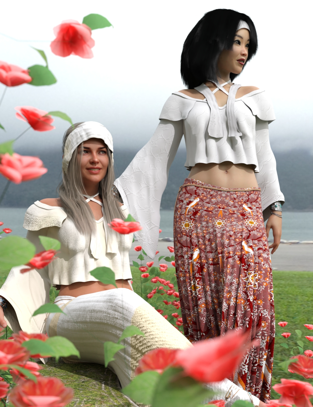 dForce Flower Girl Outfit for Genesis 8 Females by: Sixus1 Media, 3D Models by Daz 3D