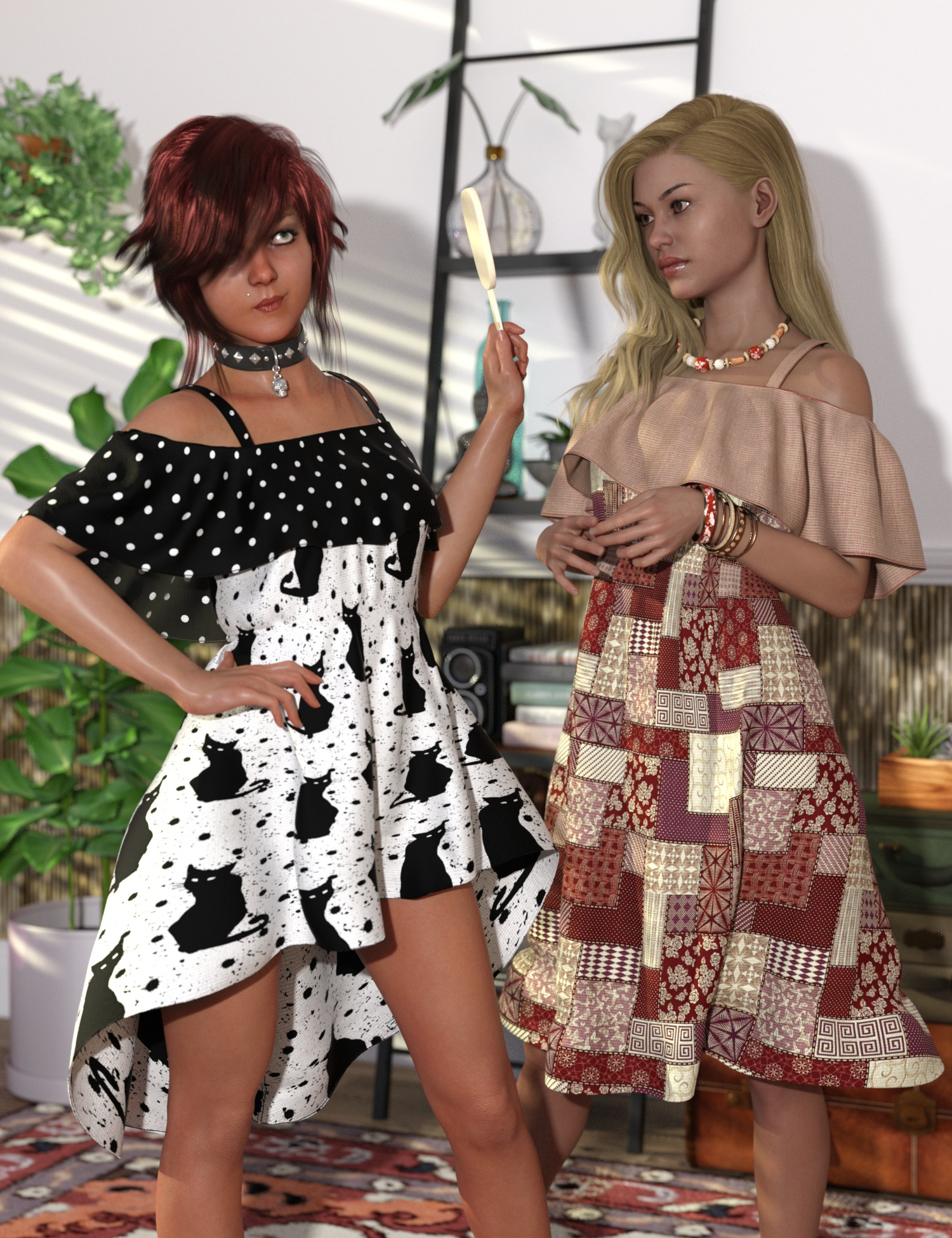 Playground Textures for dForce Ruffle BN Off Shoulder Dress by: 3D-GHDesignSade, 3D Models by Daz 3D