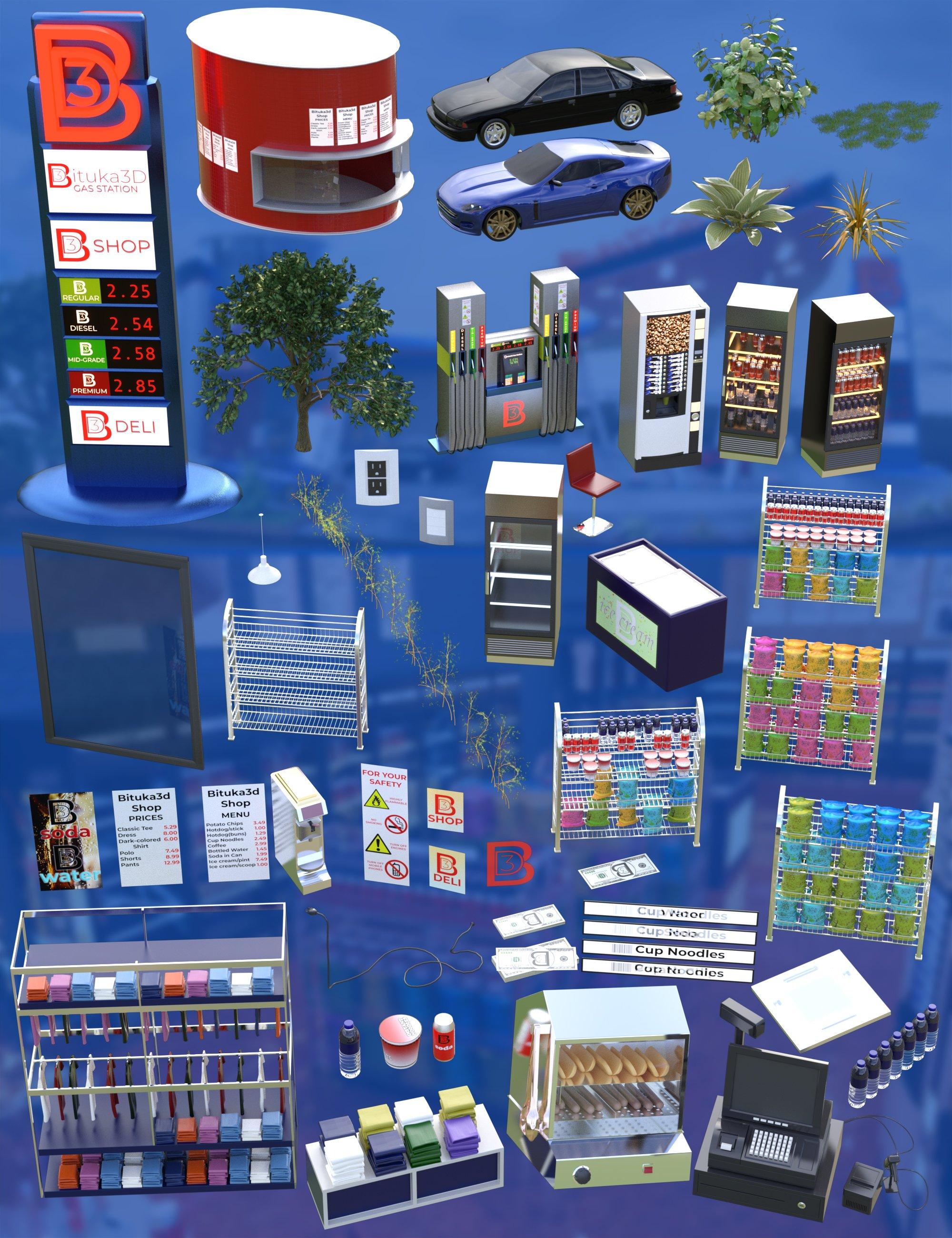 Bituka3d Gas Station Props by: bituka3d, 3D Models by Daz 3D