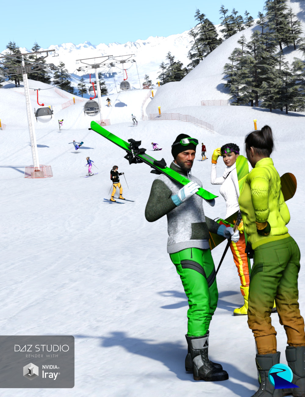 Now-Crowd Billboards - Skiing and Snowboarding (Winter Fun Vol II) by: RiverSoft Art, 3D Models by Daz 3D