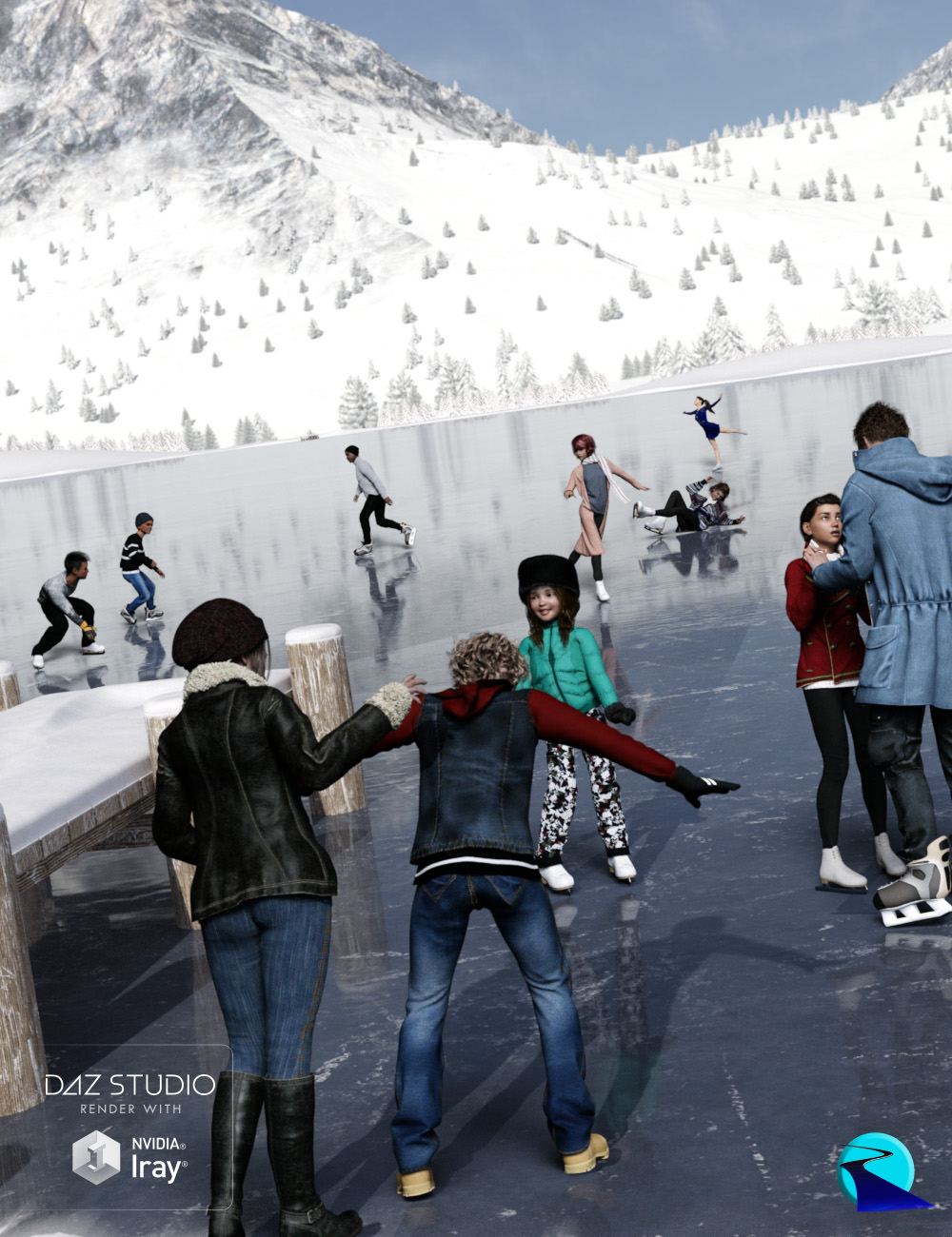 Now-Crowd Billboards - On the Ice (Winter Fun Vol I) by: RiverSoft Art, 3D Models by Daz 3D