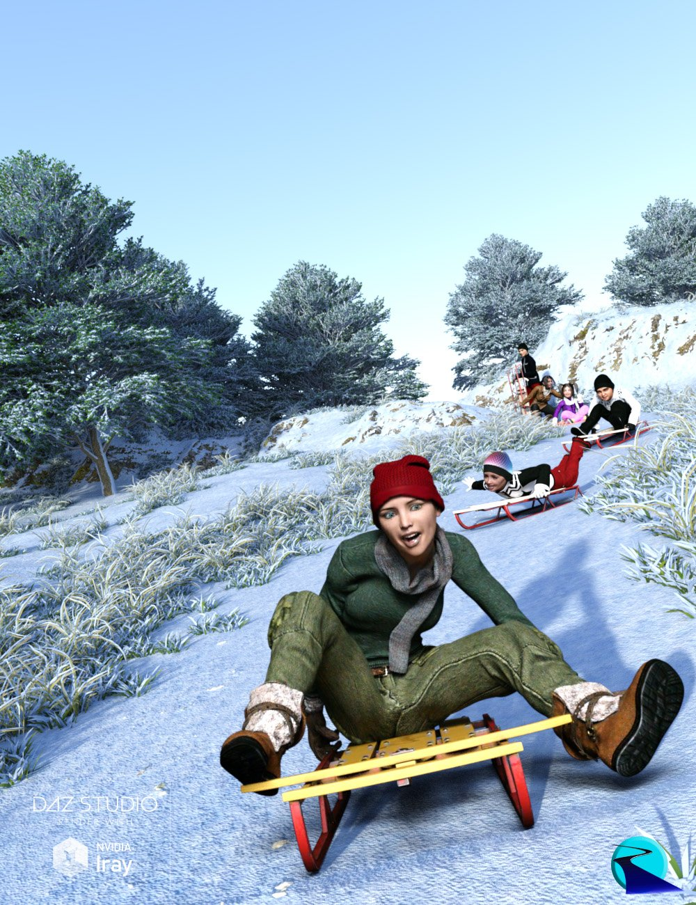 Now-Crowd Billboards - Sledding and Snowmen (Winter Fun Vol III) by: RiverSoft Art, 3D Models by Daz 3D