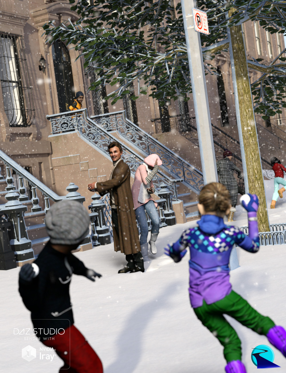 Now-Crowd Billboards - Snowball Fight (Winter Fun IV) by: RiverSoft Art, 3D Models by Daz 3D