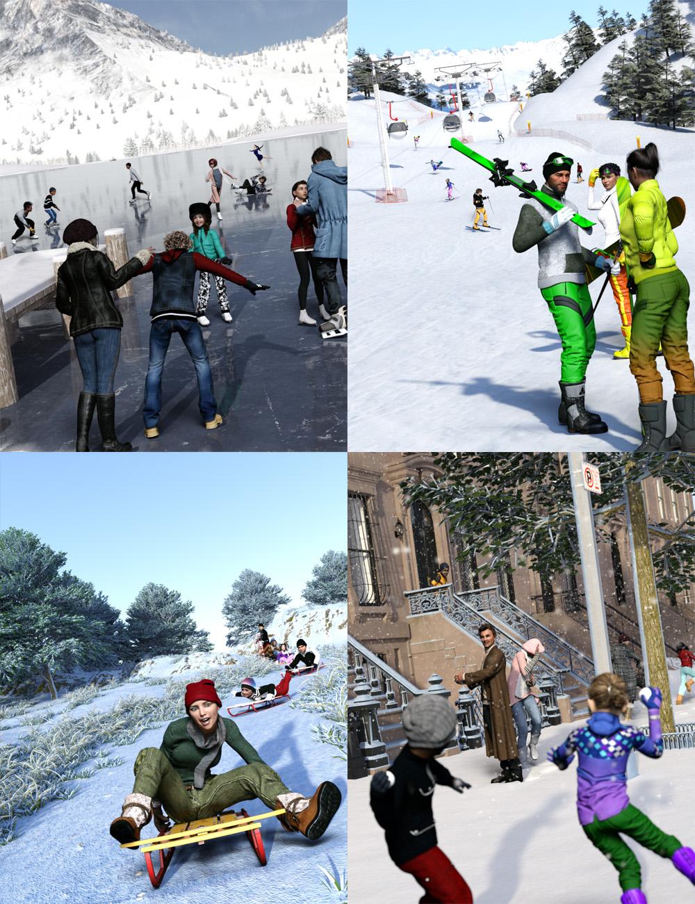 Now-Crowd Billboards - Winter Fun Bundle by: RiverSoft Art, 3D Models by Daz 3D