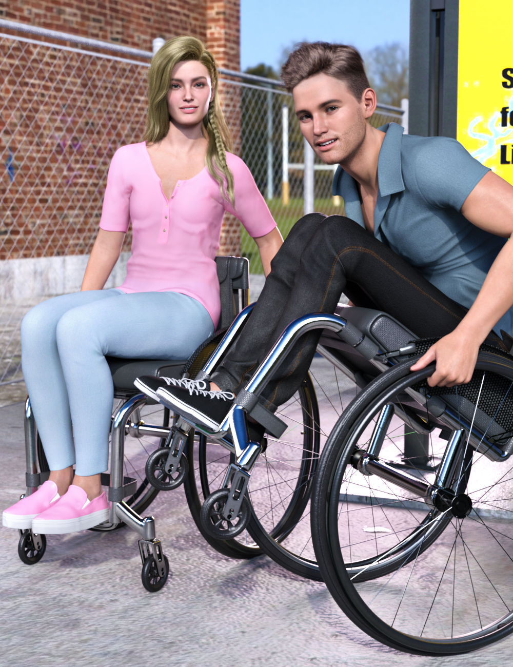 Z Everyday Wheelchair and Poses for Genesis 8.1 by: Zeddicuss, 3D Models by Daz 3D