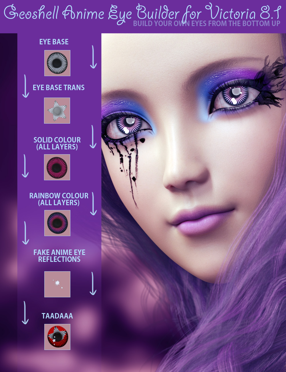 Geoshell Anime Eye Builder for Victoria 8.1 by: ForbiddenWhispers, 3D Models by Daz 3D