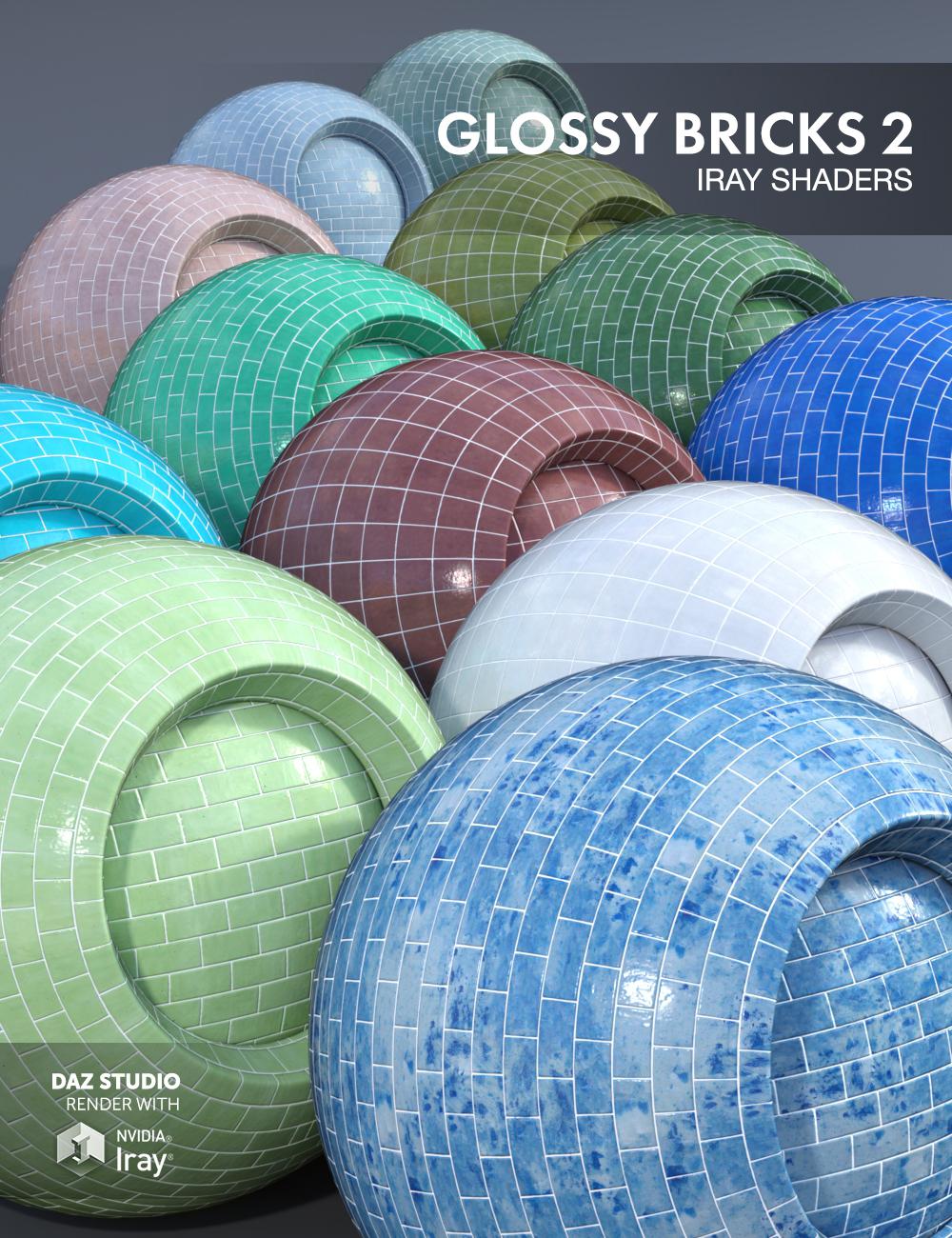 Glossy Bricks 2 - Iray Shaders by: Dimidrol, 3D Models by Daz 3D